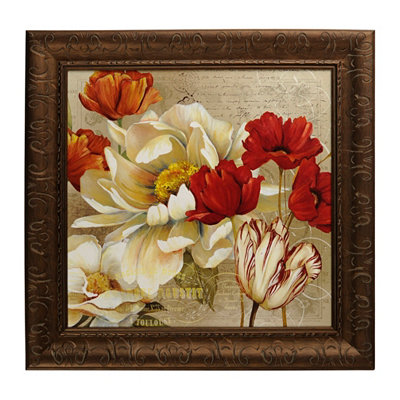 Red & White Bouquet II Framed Art Print