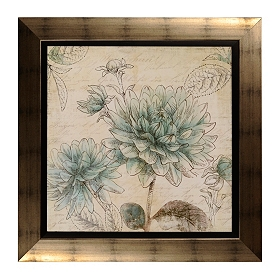 Blue Botanical Tapestry I Framed Art Print
