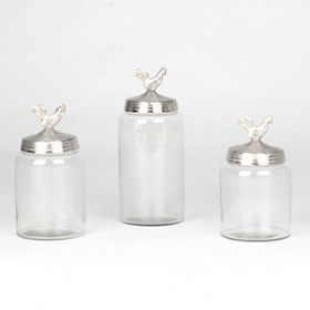 Silver Rooster Canisters, Set of 3