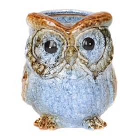 Blue Ceramic Owl Planter
