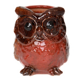 Red Ceramic Owl Planter