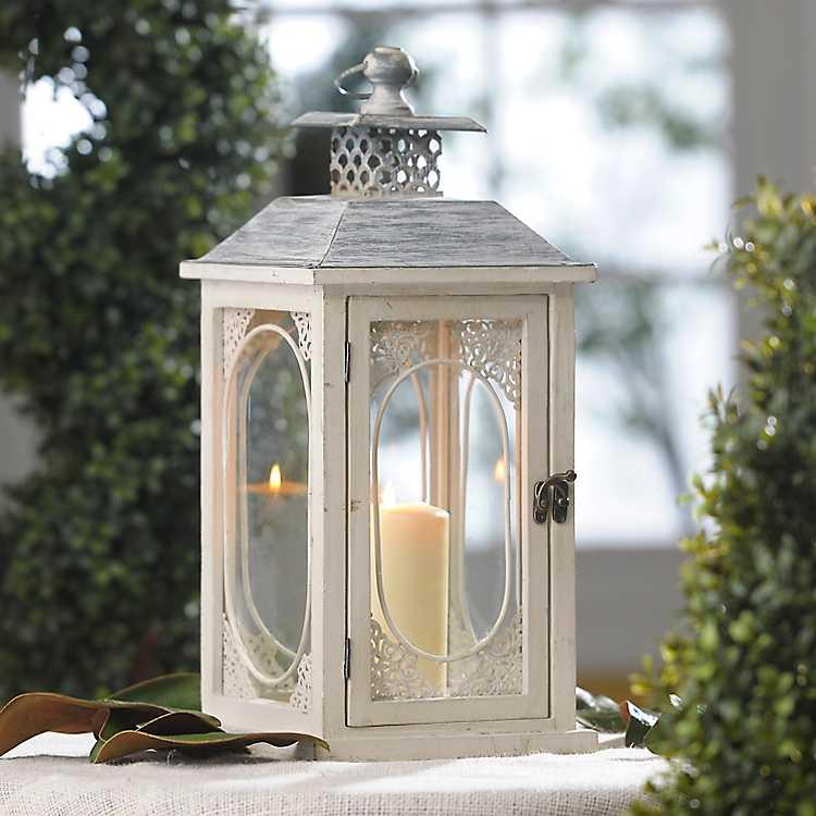 Antiqued cream lantern kirklands