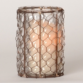 Chicken Wire & Glass Hurricane, 7.25 in.