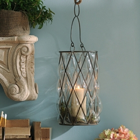 Wire & Blown Glass Lantern, 12.5 in.