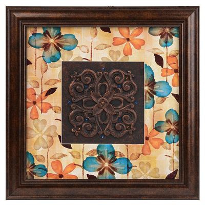 Blue Floral Medallion Shadowbox