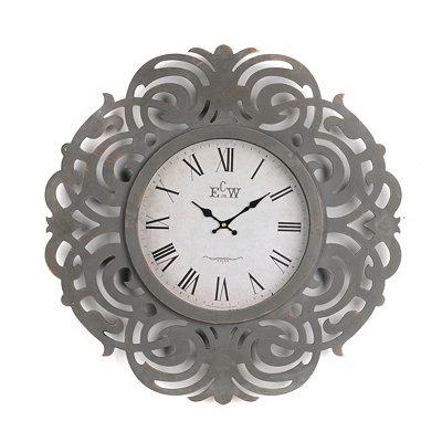 Gray Art Deco Wall Clock