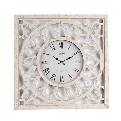 Distressed White Cutout Clock