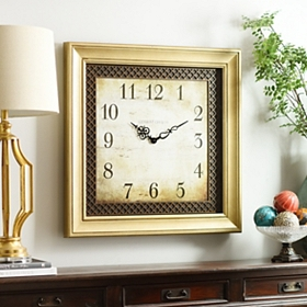 Ansley Light Gold Square Clock