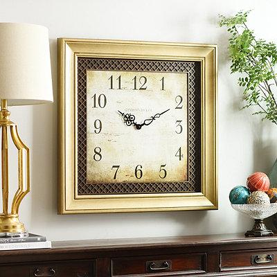 Ansley Light Gold Square Clock