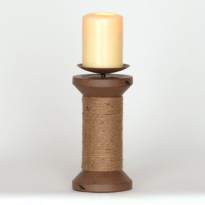 Wooden Spool Pillar Candle Holder, 9 in.