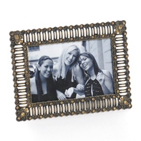 Antiqued Brass Jewel Picture Frame, 4x6