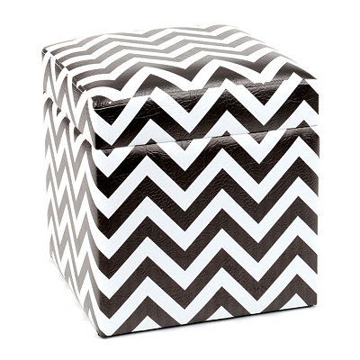 Black and White Chevron Storage Ottoman