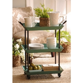 Turquoise 3-Tier Cart