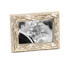 Antiqued Champagne Leaf Picture Frame, 4x6