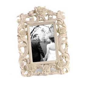 Baroque Distressed Ivory Picture Frame, 4x6