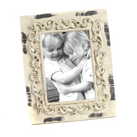 Distressed Cream Carving Picture Frame, 4x6
