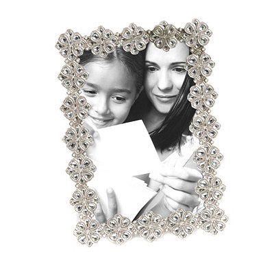 Jeweled Silver Picture Frame, 4x6