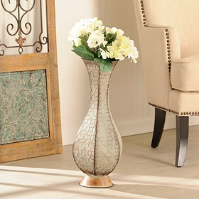 Light Blue Embossed Metal Vase