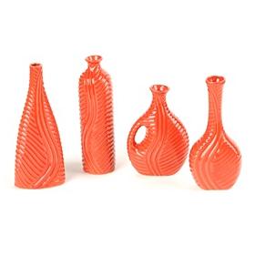 Tomato Red Swirled Vase