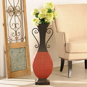 Embossed Red and Black Medallion Vase