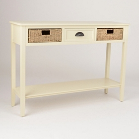 Cream 3-Drawer Storage Console Table