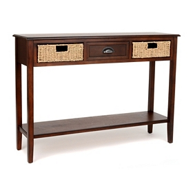 Brown 3-Drawer Storage Console Table