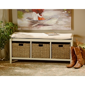 Cream 3-Basket Storage Bench