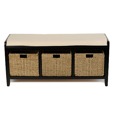 Black 3-Basket Storage Bench