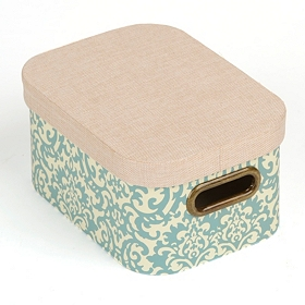 Blue Damask Storage Box with Lid, Small