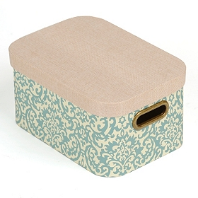 Blue Damask Storage Box with Lid, Medium