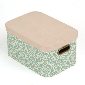 Blue Damask Storage Box with Lid, Large