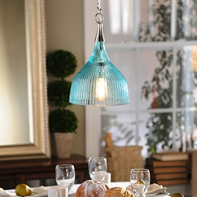 Blue Luster Glass Pendant Light