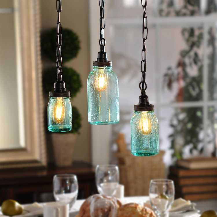 Mason Jar Pendant Light Set Of 3