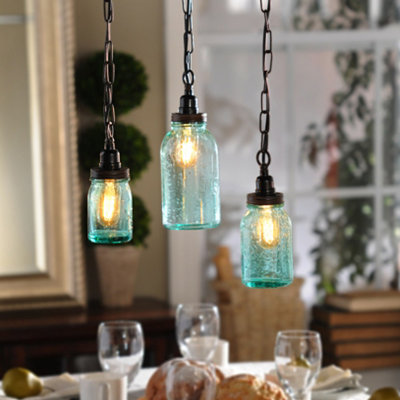 Mason Jar Pendant Light, Set of 3