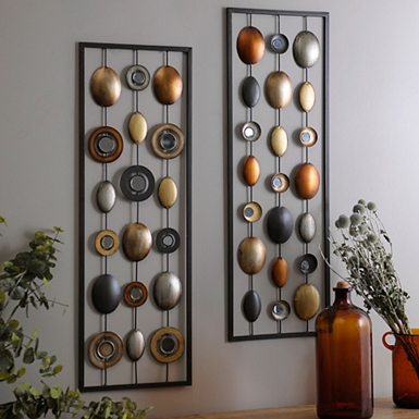 metallic dots plaque set of 2