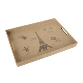 Burlap Paris Serving Tray
