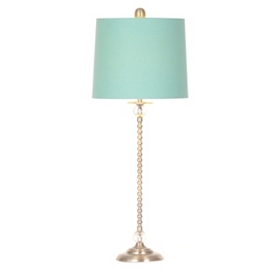 Brushed Steel & Blue Buffet Lamp