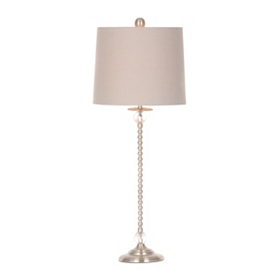 Brushed Steel & Gray Buffet Lamp