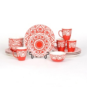 Red Swirl 16-pc. Dinner Set