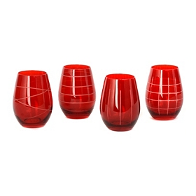 Red Medallion Stemless Goblets, Set of 4