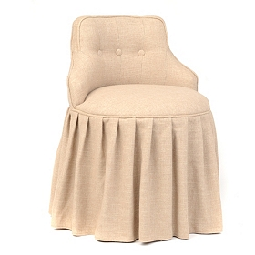 Oatmeal Skirted Vanity Stool