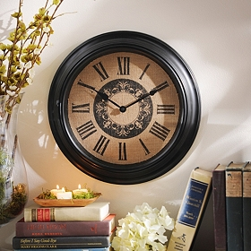 Burlap Medallion Clock