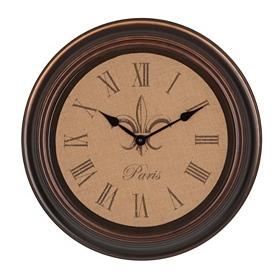 Burlap Fleur-de-lis Clock
