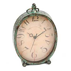 Distressed Turquoise Tabletop Clock