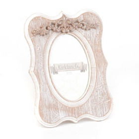 Distressed White Scroll Top Picture Frame, 4x6
