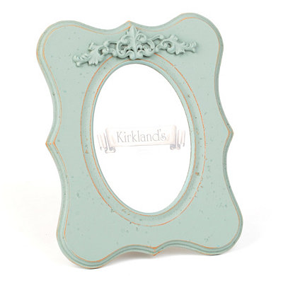 Distressed Blue Scroll Top Picture Frame, 5x7