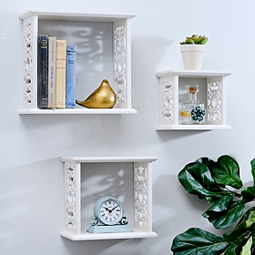 Cream Scroll Wall Cubes, Set of 3