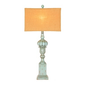 Antiqued Blue Tulip Table Lamp