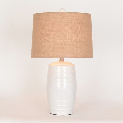 White Ceramic Barrel Table Lamp