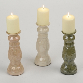 Ceramic Coastal Candlesticks, 10 in.